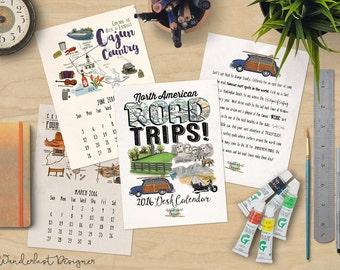ON SALE 25% OFF - Road Trip 2016 Desk Calendar - 5x7 Calendar of North American Road Trips & Travel Stories