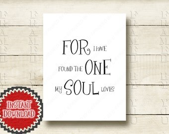 Wedding Anniversary Gift For I Have Found The One Solomon 3:4 Religious Bible Verse Christian Home Decoration Soul Mate Love Art Print 4011D