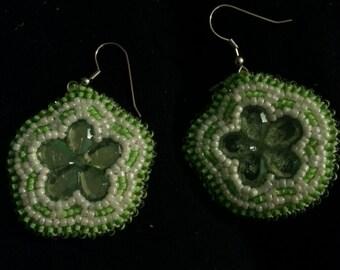 Green/White Flower Earrings