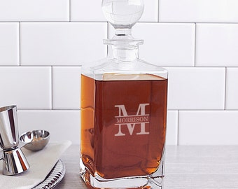 Heavy Whiskey Decanter with Domed Stopper - (g101-1220) - Free Personalization