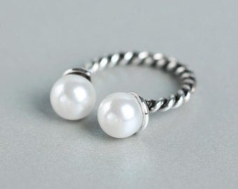 pearl ring, Sterling silver pearl ring, sterling ring, pearl ring