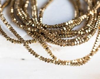 2222_Small hematite beads 3x3x2mm, Gold hematite beads, Faceted beads, Glossy hematite beads, Metal hematite beads, Gold hematite beads.