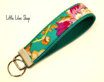Key Fob, Fabric Key Chain, Wristlet, Aqua Floral, Key Holder, Keychain, Wristlet Keychain, Fabric Key Fob, Fabric Keychain, Floral Print