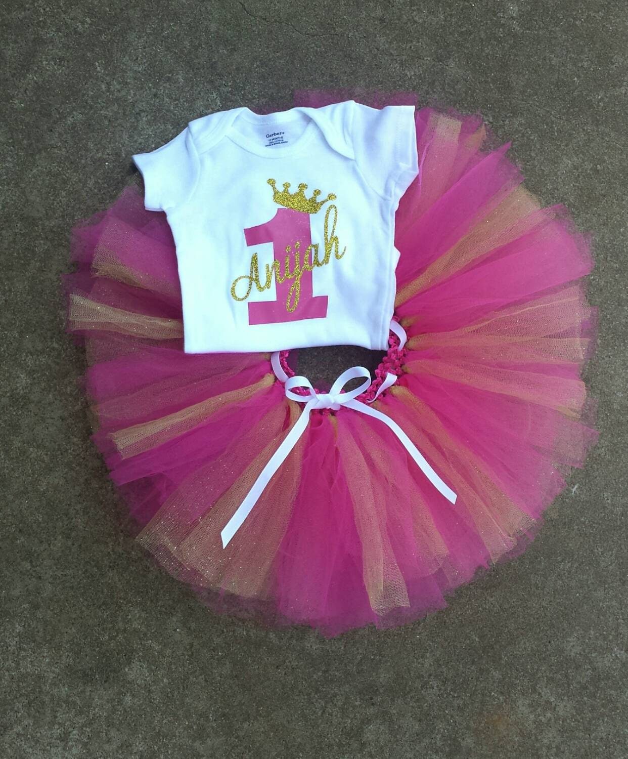 1st birthday party pink and gold tutu personalized zoom negle Gallery