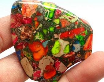 Natural Rainbow Brown Sea Sediment Jasper in Pyrite Pendant. Freeform shape. 40x44 mm