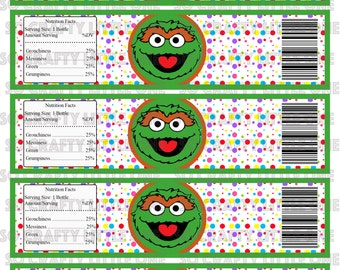 Sesame Street Water Bottle Labels - OSCAR THE GROUCH
