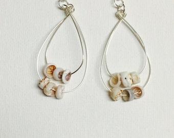 Sea Shell Silver Double Hoop Earrings