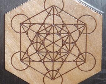 Wooden Metatrons Cube Magnet