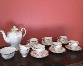 Tuscan Tea Set 6 Porcelain Tea Cups Saucers Tea Pot Cream & Sugar
