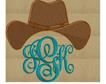 Cowboy Hat Font Frame Monogram Design -Font not included - EMBROIDERY DESIGN FILE - Instant download - Vp3 Hus Dst Exp Jef Pes formats