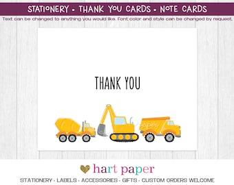 Construction Trucks | Printed Thank You Cards Folded Flat Card Notecard Stationery | Birthday Baby Shower Bridal Wedding | Gift Stationery