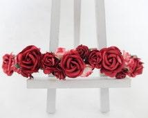Red rose headpiece - flower crown - floral wreath - flower hair garland - floral headband
