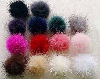 Wholesale 40 pcs - 30mm Genuine Mink Fur Ball - 10% discount