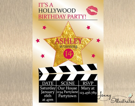 hollywood birthday invitation hollywood by jennyillustrations
