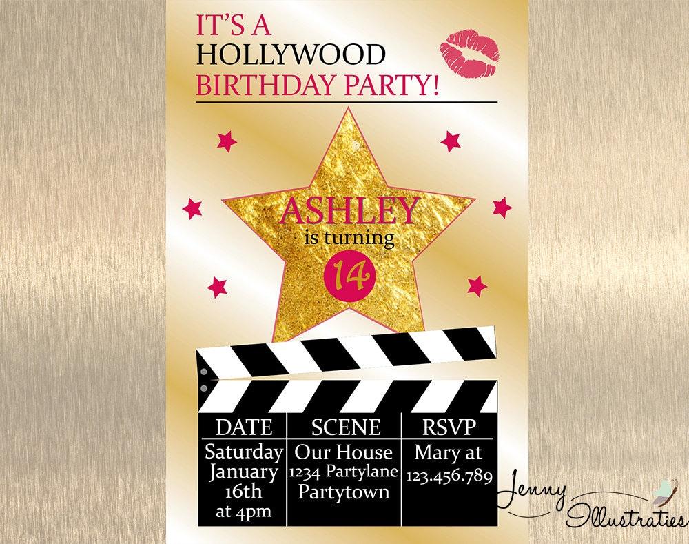hollywood birthday invitation hollywood by jennyillustrations