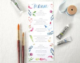 Custom Watercolor Menu; Personalized Wedding, Dinner Menu, Hand-lettered Menu Design