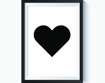 Heart, Black Heart, Printable Heart, Valentines Heart, Heart Silhouette, Love, Love Print, Printable Love Art, Love Art Print