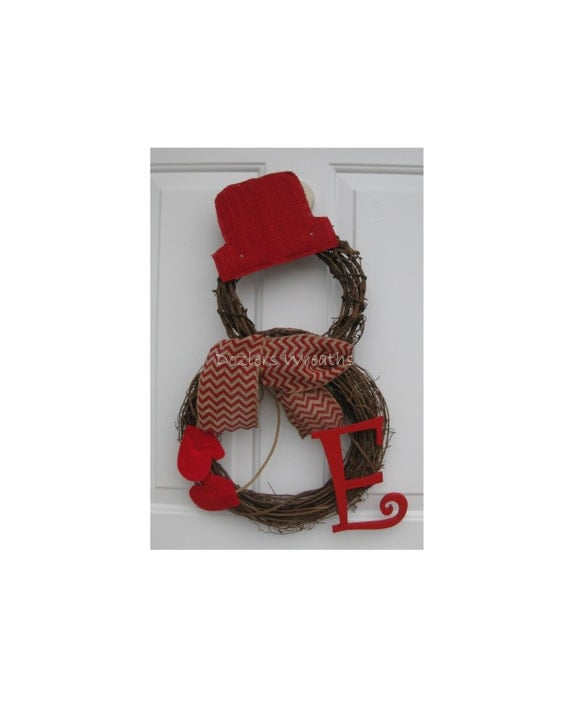 Grapevine snowman wreath with burlap hat by dozlerscreations for Snowman made out of burlap