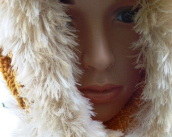 Gold Snood with Off White Faux Fur