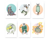 Illustrated fashion-postcard set 'HAUTE CREATURE'