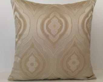 Tan and beige pillow, Throw Pillow Cover, Decorative Pillow Cover, Cushion Cover, Accent Pillow, Satin Blend, Moroccan Design pillow