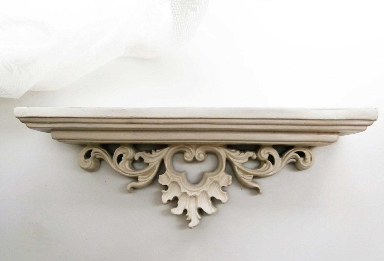 Wand console planchet. oud wit hout. brocante muur door original20
