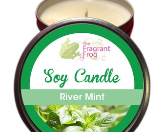 River Mint with Bush Iris Scented 100% Soy Wax Candle approximately 40 + hours burn time