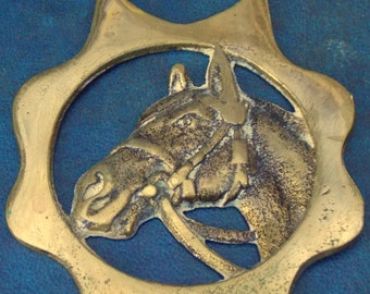 Rare vintage HORSE BRASS  Horses Head Style Design Peerage Made in England