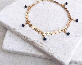 Delicate bracelet, gold bracelet, gift for her, black crystal, coin chain