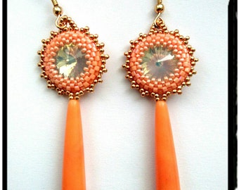Hand made earrings, with colorful agate