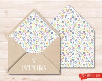 Floral A7 envelope liner | Printable envelope liner | Party invitation envelope liner | A7 envelope liner | DIY envelope liner