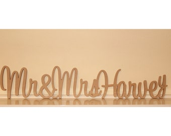 Personalised Mr & Mrs Wedding sign with surname
