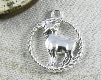 Set of (2) Silver Aries Astrology Symbol Charms, 2 per package SYM052