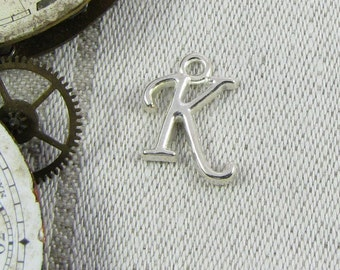 """Silver Script Letter """"K"""" Charms, 1 or 5 letters per package  ALF018k"""