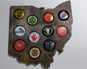 Mini Ohio Beer Cap Map Home Bar Display Gift for Him