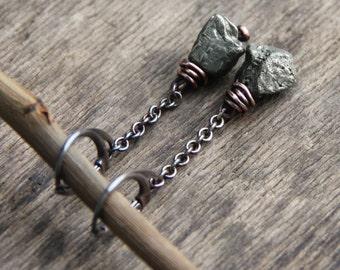 Mixed metal earrings, sterling silver copper earrings, pyrite earrings, raw stone jewelry, long earrings, rustic jewelry, sterling silver