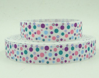 1 inch PINK, BLUE, purple polka dots  on  WHITE style D201   -  Printed Grosgrain Ribbon