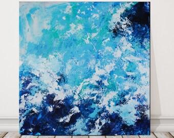 original abstract ocean painting, large coastal landscape, modern ocean art