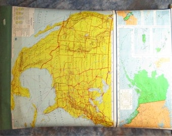 1967 AJ Nystrom 50 States United States Canvas Large Old Map Wall Art Vintage