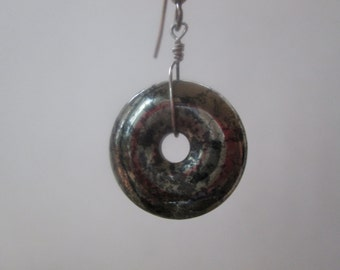 Sterling silver and pyrite donut earrings