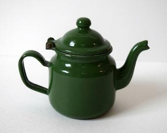 Mini Green Enamel Teapot