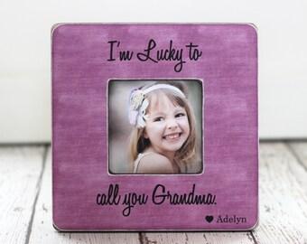 Mother's Day Grandma Picture Frame Gift 'Lucky to Call You Grandma' Personalized Frame for Grandma Grandmother Nana Mimi Yaya GIFT