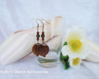 Wooden beads and tiger's eye earrings