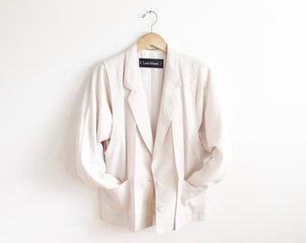 LOUIS FERAUD boyfriend blazer / avant garde blazer / ivory blazer / slouchy blazer / oversized blazer / minimalist blazer / 80's blazer / S