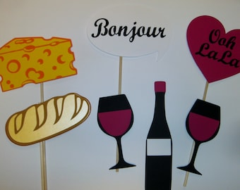 French Photo Prop / Paris / Bonjour / Wine / Cheese  (2170D)
