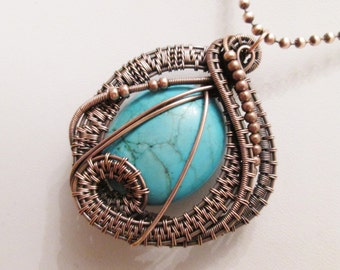 Oxidized Copper Wire Woven Turquoise Pendant Necklace