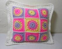 Sunburst Crochet Granny Square Hippy Flower Power Accent Pillow Pink Yellow Lavender 12 Inch Square