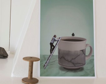 I need some coffee- print A3. Poster, photography art, paper, wall art, surreal photo, surrealistic