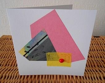 Yellow Red Dot - Handmade Mixed Media Art Greeting Card - Original Fine Art Collage Greeting Card