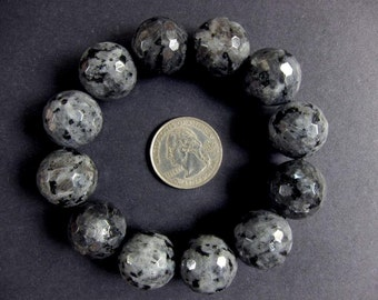 Bracelet Larvikite 18mm Facet Round Beads Stretch BSLR2068